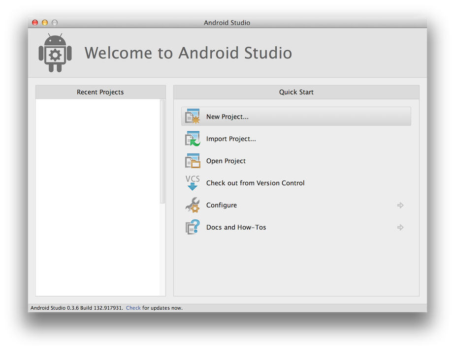 """Android Studio welcome screen"""